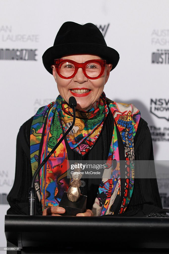 Australian fashion designer Jenny Kee speaks at the Australian Fashion Laureate during Mercedes-Benz Fashion Week Australia 2014 at Star Lounge, Carriageworks on April 9, 2014 in Sydney, Australia.