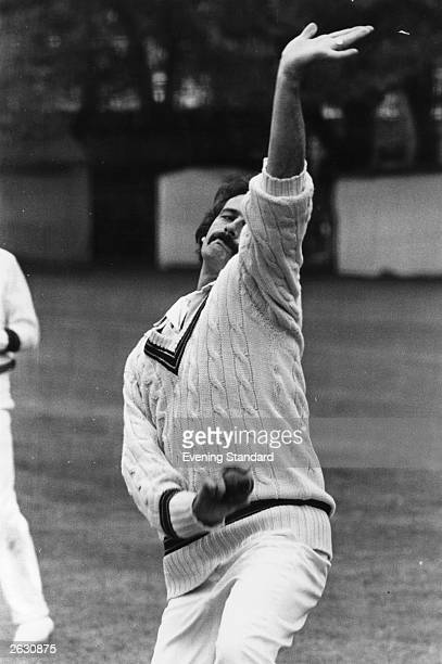 Australian fast bowler Dennis Lillee practising in the nets at Lord's cricket ground London