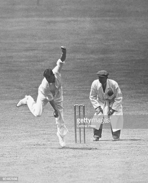 Australian fast bowler Ernie McCormick in action against England at Trent Bridge Nottingham June 1938 The umpire is Yorkshireman Emmott Robinson