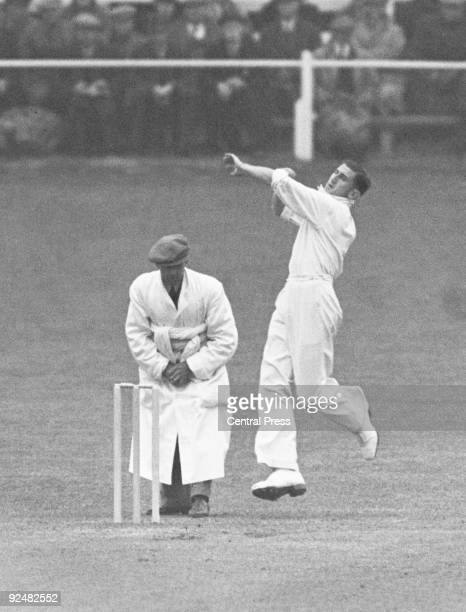 Australian fast bowler Ernie McCormick in action against Worcester at Worcester 2nd May 1938