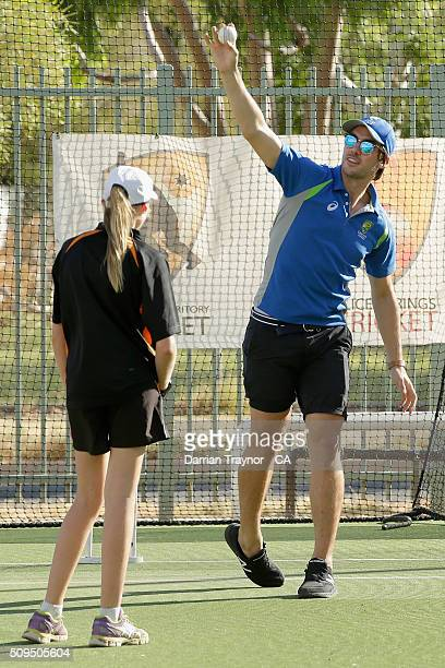 Australian fast bowler Pat Cummins gives a bowling clinic during day 4 of the National Indigenous Cricket Championships on February 11 2016 in Alice...