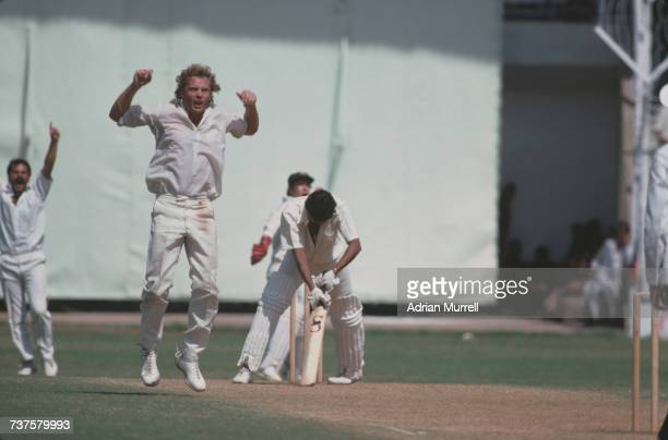 Australian fast bowler Rodney Hogg reacts to the rejection of his LBW appeal against Indian batsman Kapil Dev during the 6th Test against India at...