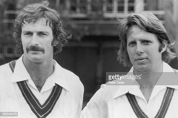 Australian fast bowlers Dennis Lillee and Jeff Thomson at Lords for their first net practice in London 30th May 1975