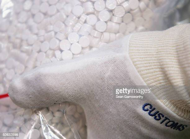Australian Federal Police display more than one tonne of MDMA tablets seized from Melbourne's waterfront at the Australian Federal Police...