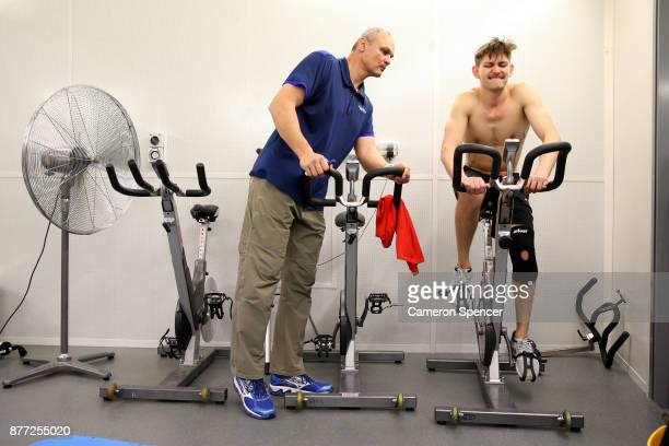 Australian figure skater Harley Windsor receives instructions from NSWIS Strength and Conditioning coach Zsolt Zsomber in an altitude training...
