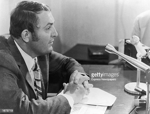 Australian financier Alan Bond during a press conference to announce he had lodged a challange for the 1973 American Cup contest on behalf of Western...