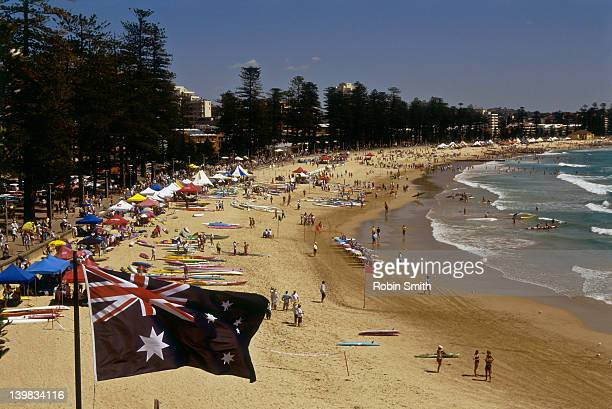 Australian flag and Manly Beach Surf Carnival, Sydney, New South Wales, Australia