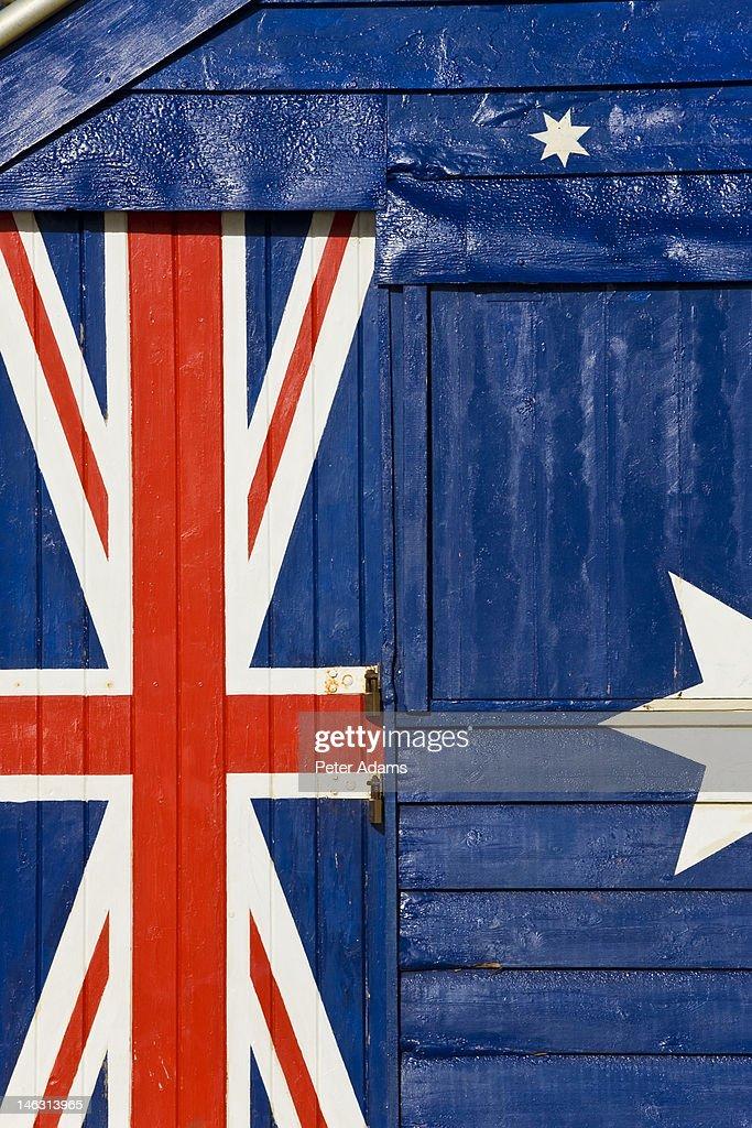 Australian Flag Beach Hut, Melbourne, Australia : Stock Photo