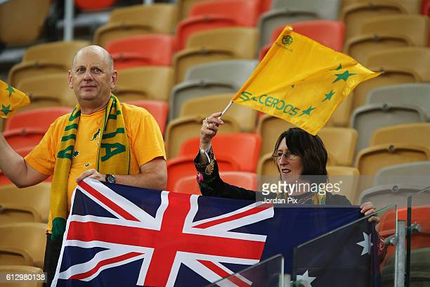 Australian football fans support their team during the match between Saudi Arabia and Australia for the FIFA World Cup Qualifier Russia 2018 at the...