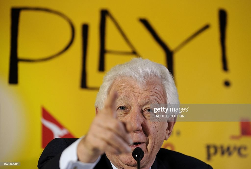 Australian Football Federation Chairman Frank Lowy gestures during a press conference on November 30 2010 in Zurich before his country's 2022 World...