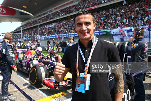 Australian footballer Tim Cahill attends the Formula One Grand Prix of China at Shanghai International Circuit on April 12 2015 in Shanghai China