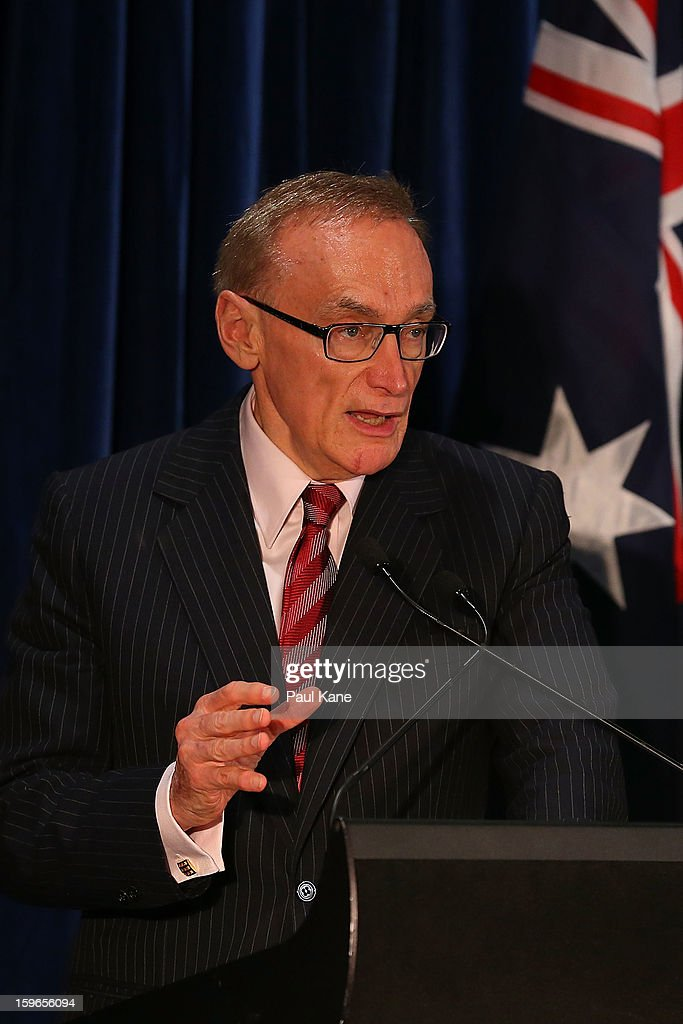 Australian foreign affairs minister Bob Carr addresses the media together with British foreign and commonwealth affairs secretary William Hague, Australian defence minister Stephen Smith and British defence secretary Philip Hammond during the annual Australia-United Kingdom Ministerial meetings on January 18, 2013 in Perth, Australia. The ministers meet to discuss defence and foreign affairs during the annual one-day summit.