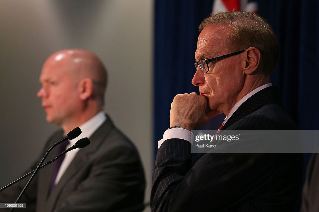 Australian foreign affairs minister Bob Carr looks on as British secretary of state for foreign and commonwealth affairs William Hague addresses the media during the annual Australia-United Kingdom Ministerial meetings on January 18, 2013 in Perth, Australia. The ministers meet to discuss defence and foreign affairs during the annual one-day summit.