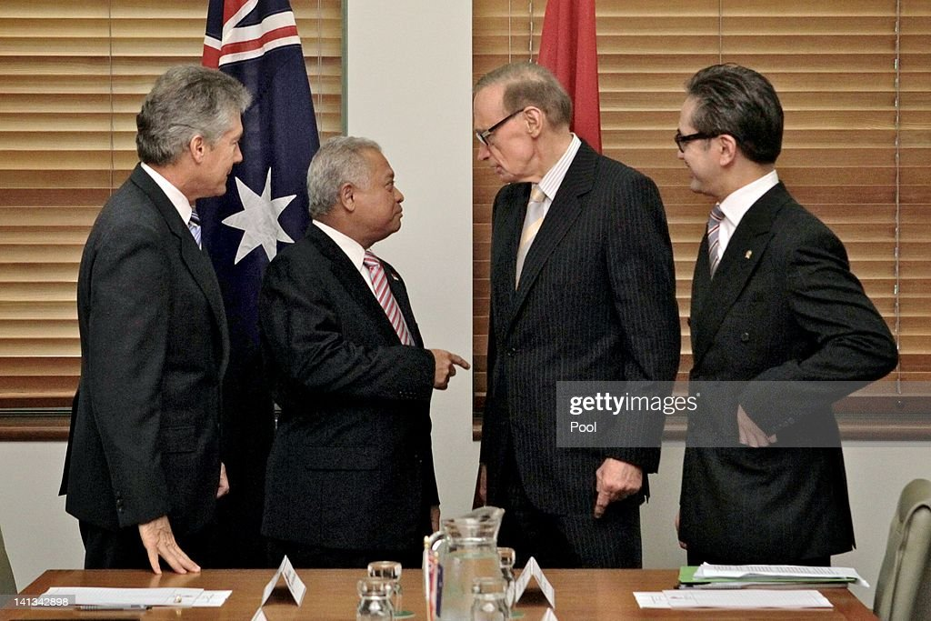 Australian Foreign Affairs Minister Senator <a gi-track='captionPersonalityLinkClicked' href=/galleries/search?phrase=Bob+Carr&family=editorial&specificpeople=209391 ng-click='$event.stopPropagation()'>Bob Carr</a> (2R) and Australian Defence Minister Stephen Smith (L) meet with Indonesian Foreign Minister <a gi-track='captionPersonalityLinkClicked' href=/galleries/search?phrase=Marty+Natalegawa&family=editorial&specificpeople=2862416 ng-click='$event.stopPropagation()'>Marty Natalegawa</a> (R) and Indonesian Defence Minister Purnomo Yusgiantoro (2L) at the inaugural Australia-Indonesia 2+2 Ministerial Meeting at Parliament House on March 15, 2012 in Canberra, Australia. The 2+2 meeting of Australian and Indonesian Defence and Foreign Ministers is the first of its type between the two countries, and will discuss bilateral and regional challenges that the countries have as a common interest.