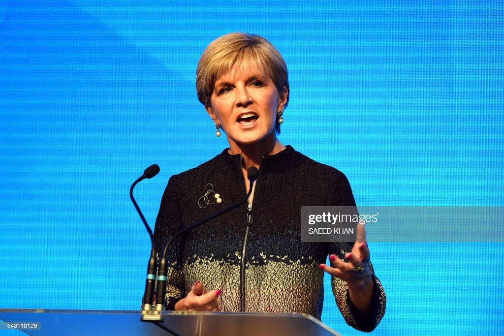 Australian foreign minister and deputy Leader of the Liberal Party, Julie Bishop, speaks at the Coalition Campaign Launch in Sydney on June 26, 2016. Australia's prime minister promised stability and strong economic policy in the wake of global turmoil sparked by Britain's Brexit vote, as he campaigned June 26 ahead of next week's national polls. / AFP / SAEED