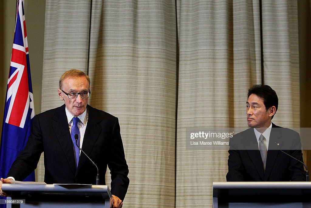 Australian Foreign Minister <a gi-track='captionPersonalityLinkClicked' href=/galleries/search?phrase=Bob+Carr&family=editorial&specificpeople=209391 ng-click='$event.stopPropagation()'>Bob Carr</a> and Japanese Foreign Minister Fumio Kushida attend a press conference during bilateral meetings at the Intercontinental Hotel on January 13, 2013 in Sydney, Australia. This is the first overseas assignment for Japanese Foreign Minister Fumio Kushida who will also meet with Australian Trade Minister Craig Emerson during his one day visit to the country.
