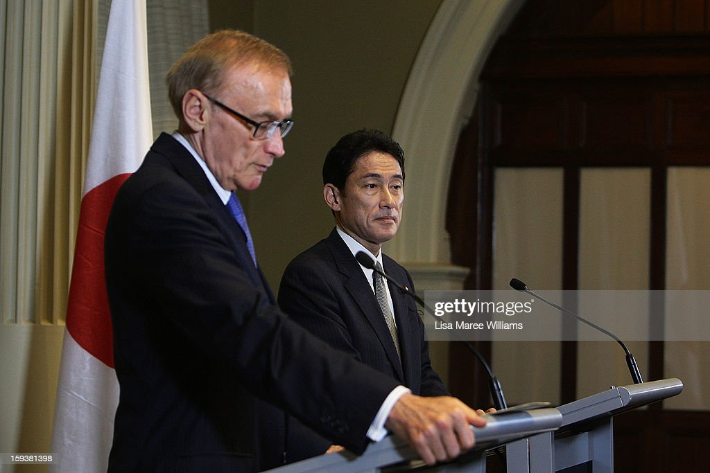 Australian Foreign Minister Bob Carr and Japanese Foreign Minister Fumio Kushida attend a press conference during bilateral meetings at the Intercontinental Hotel on January 13, 2013 in Sydney, Australia. This is the first overseas assignment for Japanese Foreign Minister Fumio Kushida who will also meet with Australian Trade Minister Craig Emerson during his one day visit to the country.
