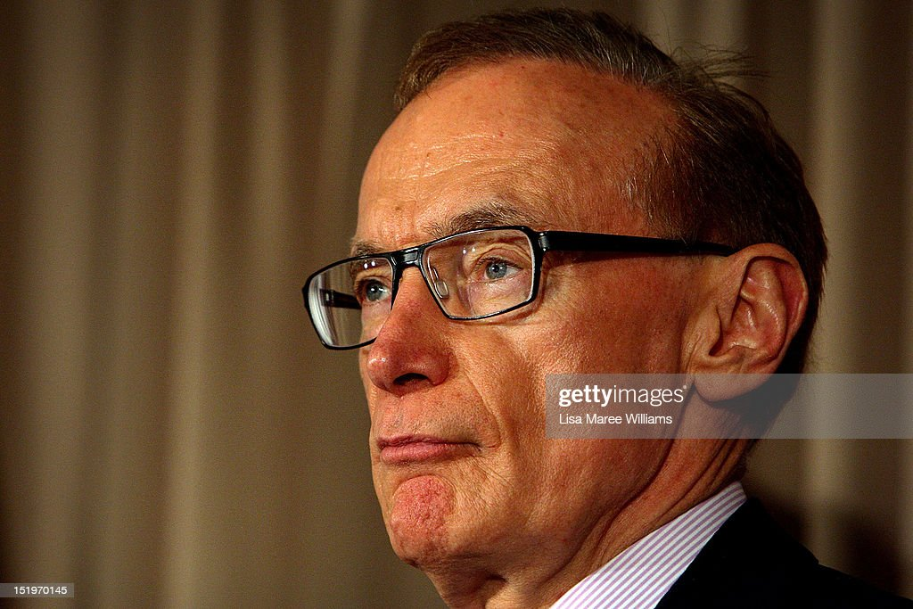 Australian Foreign Minister <a gi-track='captionPersonalityLinkClicked' href=/galleries/search?phrase=Bob+Carr&family=editorial&specificpeople=209391 ng-click='$event.stopPropagation()'>Bob Carr</a> attends a press conference during the fourth Australia-Japan 2+2 Ministerial Meeting on September 14, 2012 in Sydney, Australia. The discussions will focus on regional co-operation between the two nations, including maritime disputes.