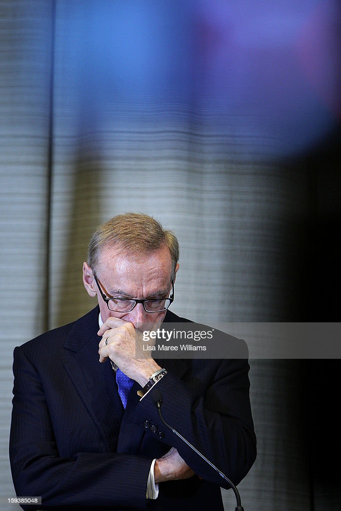Australian Foreign Minister <a gi-track='captionPersonalityLinkClicked' href=/galleries/search?phrase=Bob+Carr&family=editorial&specificpeople=209391 ng-click='$event.stopPropagation()'>Bob Carr</a> attends a press conference with Japanese Foreign Minister Fumio Kushida during bilateral meetings at the Intercontinental Hotel on January 13, 2013 in Sydney, Australia. This is the first overseas assignment for Japanese Foreign Minister Fumio Kushida who will also meet with Australian Trade Minister Craig Emerson during his one day visit to the country.