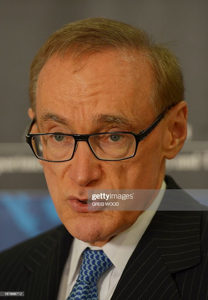 Australian Foreign Minister Bob Carr speaks at a press conference in Sydney on May 2, 2013 revealing that an Australian man is being detained on terrorism-related charges in Saudi Arabia. Shayden Thorne, 25, has been held in a jail outside Riyadh for almost 18 months, reportedly after a laptop which his family says he borrowed from a mosque, was allegedly found to have terrorist material on it. AFP PHOTO / GREG WOOD
