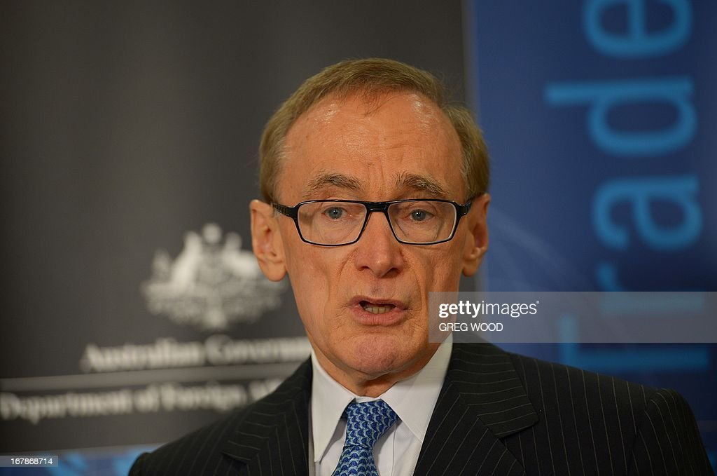 Australian Foreign Minister Bob Carr speaks at a press conference in Sydney on May 2, 2013 revealing that an Australian man is being detained on terrorism-related charges in Saudi Arabia. Shayden Thorne, 25, has been held in a jail outside Riyadh for almost 18 months, reportedly after a laptop which his family says he borrowed from a mosque, was allegedly found to have terrorist material on it.