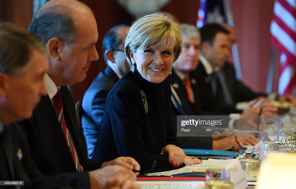 Australian Foreign Minister <a gi-track='captionPersonalityLinkClicked' href=/galleries/search?phrase=Julie+Bishop&family=editorial&specificpeople=1198450 ng-click='$event.stopPropagation()'>Julie Bishop</a>, (C), along with Defence Minister David Johnston (2nd L), address the start of the AUSMIN talks with US Secretary of State <a gi-track='captionPersonalityLinkClicked' href=/galleries/search?phrase=John+Kerry&family=editorial&specificpeople=154885 ng-click='$event.stopPropagation()'>John Kerry</a> and US Secretary of Defense <a gi-track='captionPersonalityLinkClicked' href=/galleries/search?phrase=Chuck+Hagel&family=editorial&specificpeople=504963 ng-click='$event.stopPropagation()'>Chuck Hagel</a>, at Admiralty House on August 12, 2014 in Sydney, Australia. US Secretary of State <a gi-track='captionPersonalityLinkClicked' href=/galleries/search?phrase=John+Kerry&family=editorial&specificpeople=154885 ng-click='$event.stopPropagation()'>John Kerry</a> and Defence Secretary <a gi-track='captionPersonalityLinkClicked' href=/galleries/search?phrase=Chuck+Hagel&family=editorial&specificpeople=504963 ng-click='$event.stopPropagation()'>Chuck Hagel</a> are meeting with their Australian counterparts Australian Foreign Minister <a gi-track='captionPersonalityLinkClicked' href=/galleries/search?phrase=Julie+Bishop&family=editorial&specificpeople=1198450 ng-click='$event.stopPropagation()'>Julie Bishop</a> and Australian Defence Minister David Johnston at the annual Australia-United States Ministerial Consultations (AUSMIN), which will focus on regional security and enhanced military co-operation.
