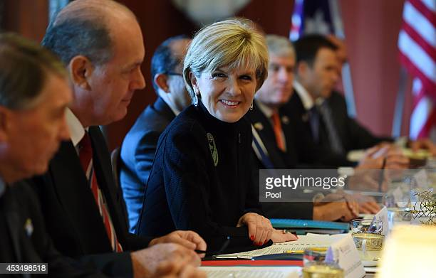 Australian Foreign Minister Julie Bishop along with Defence Minister David Johnston address the start of the AUSMIN talks with US Secretary of State...