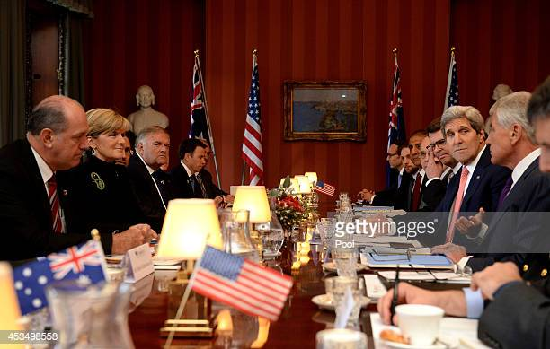 Australian Foreign Minister Julie Bishop and Defence Minister David Johnston meet with US Secretary of State John Kerry and US Secretary of Defence...