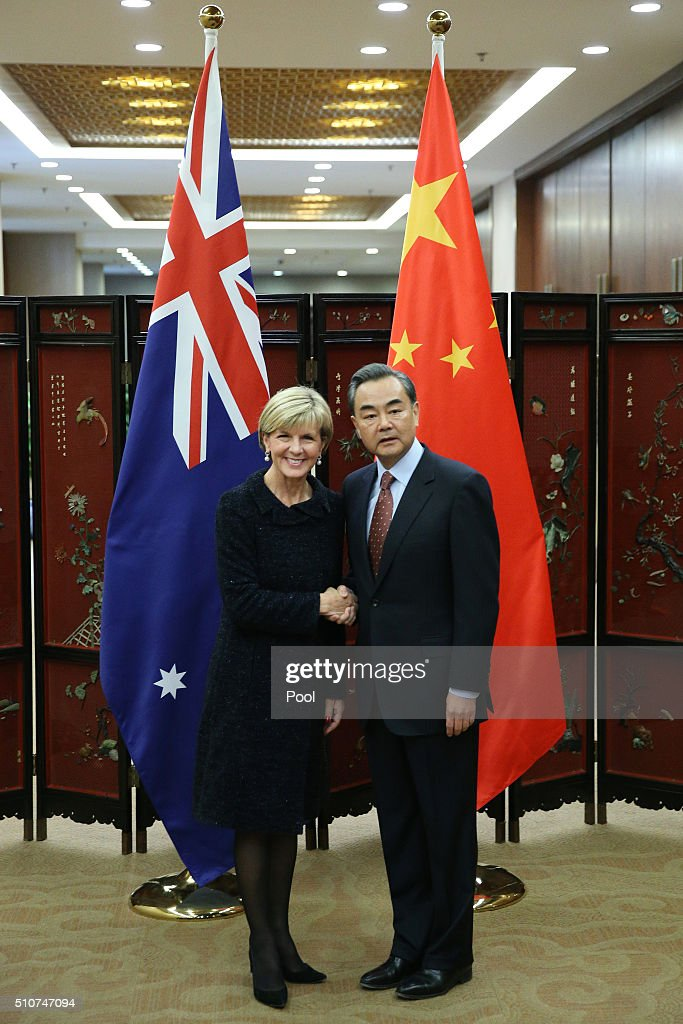 Australian Foreign Minister <a gi-track='captionPersonalityLinkClicked' href=/galleries/search?phrase=Julie+Bishop&family=editorial&specificpeople=1198450 ng-click='$event.stopPropagation()'>Julie Bishop</a> (L) shakes hands with Chinese Foreign Minister <a gi-track='captionPersonalityLinkClicked' href=/galleries/search?phrase=Wang+Yi+-+Politician&family=editorial&specificpeople=13620429 ng-click='$event.stopPropagation()'>Wang Yi</a> as she arrives for a meeting at the Ministry of Foreign Affairs on February 17, 2016 in Beijing, China. Bishop is visiting China to discuss the concerns surrounding the militarisation of islands in the South-China Sea.