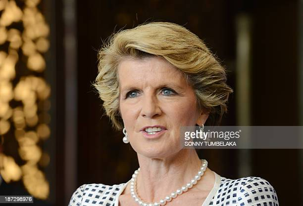 Australian Foreign Minister Julie Bishop speaks at a press conference at the Bali Democracy forum in Nusa Dua on the Indonesia tourist island on...