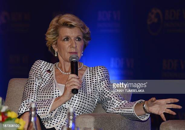 Australian Foreign Minister Julie Bishop speaks during a debate at the Bali Democracy forum in Nusa Dua on the Indonesia tourist island on November 8...