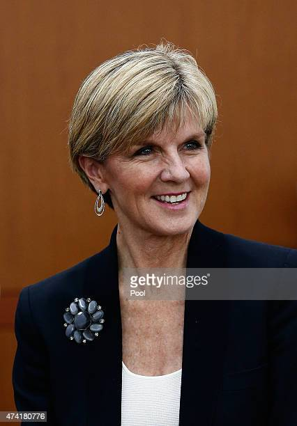 Australian Foreign Minister Julie Bishop talks with South Korean Foreign Minister Yun ByungSe during their meeting at the foreign ministry od May 21...