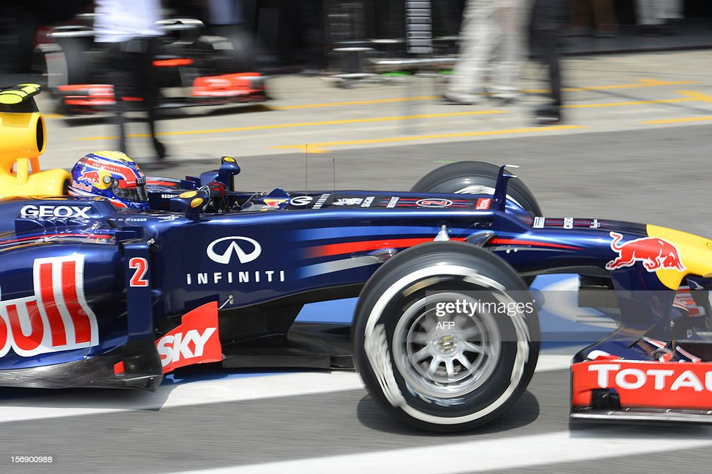 Australian Formula One driver Mark Webber leaves the pits during the qualifying session for the Brazilian GP on Sunday, during the qualifying at the Interlagos racetrack in Sao Paulo, Brazil on November 24 , 2012 .
