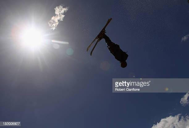Australian freestyle aerial skier Lydia Lassila jumps during a training session at the Lilydale water ramp training facility on November 10 2011 in...