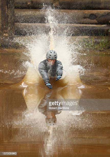 Australian freestyle aerial skier Lydia Lassila lands in the water during a training session at the Lilydale water ramp training facility on November...