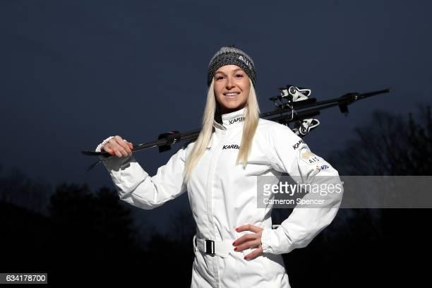Australian freestyle skier Danielle Scott poses during an Australian Aerials Team Portrait Session at Phoenix Park ahead of the FIS World Cup Aerials...