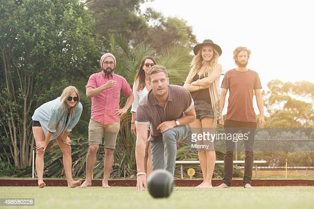 Australian Friends Enjoy Playing Lawn Bowling