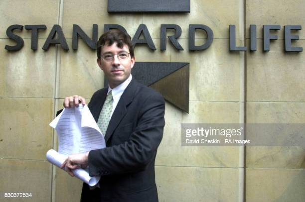 Australian fund manager Fred Woollard outside the head office in Edinburgh of mutual insurance society Standard Life where he handed in a requisition...