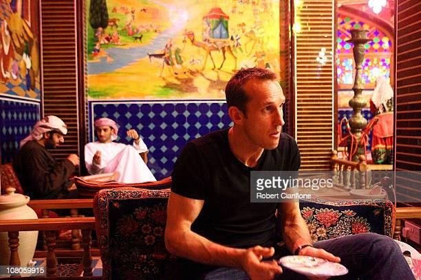 Australian goalkeeper Mark Schwarzer enjoys dinner at a local restaurant in the Souq Waqif on January 15 2011 in Doha Qatar The Australian squad are...