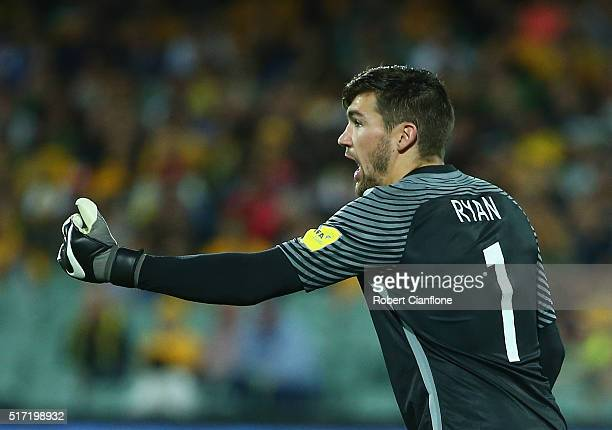 Australian goalkeeper Mathew Ryan gestures during the 2018 FIFA World Cup Qualification match between the Australia Socceroos and Tajikistan at the...