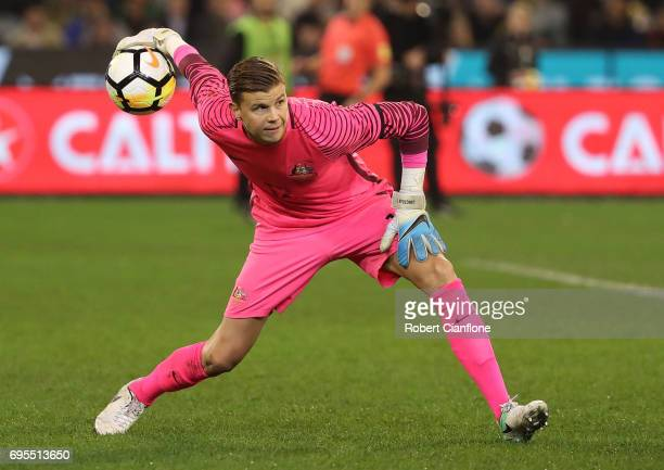 Australian goalkeeper Mitchell Langerak throws the ball back into play during the Brasil Global Tour match between Australian Socceroos and Brazil at...
