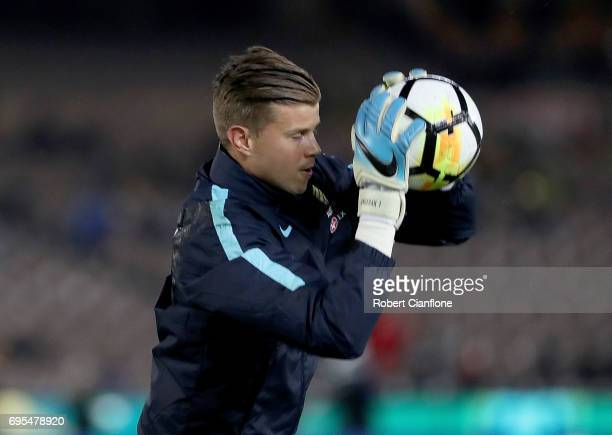Australian goalkeeper Mitchell Langerak warms up for the Brasil Global Tour match between Australian Socceroos and Brazil at Melbourne Cricket Ground...