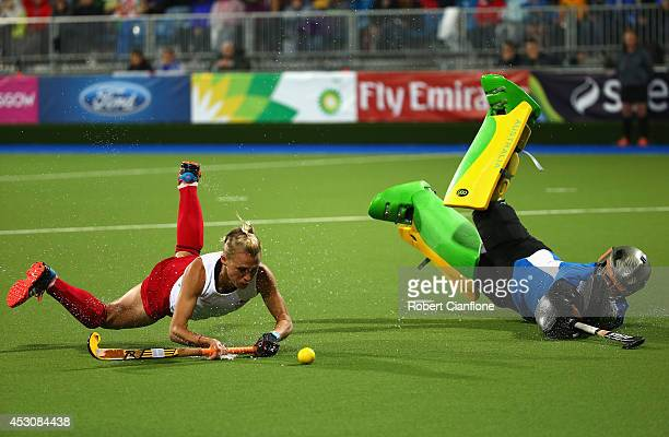 Australian goalkeeper Rachael Lynch blocks a penalty shot by Alex Danson of England during the Women's Gold Medal Match against England at Glasgow...