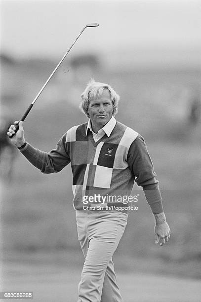 Australian golfer Greg Norman pictured during action to win the 1986 Open Championship to become champion at Turnberry Golf Resort in Scotland in...