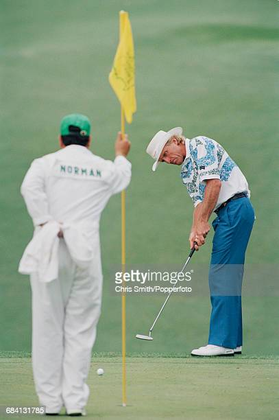 Australian golfer Greg Norman pictured in action in competition to finish in joint 8th place in the 1994 Masters golf tournament at Augusta National...