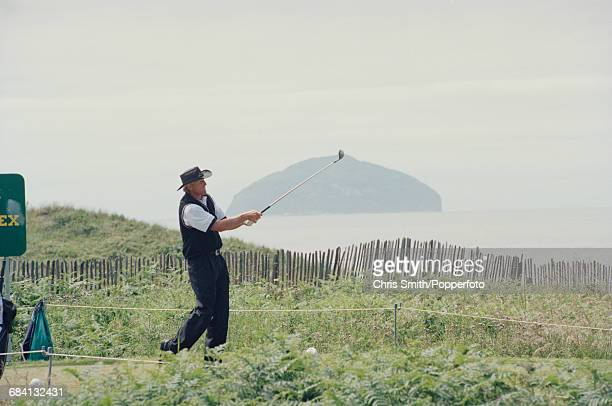 Australian golfer Greg Norman pictured in action to finish in joint 11th place at the 1994 Open Championship at Turnberry Golf Resort in Scotland in...