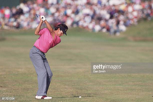 Australian golfer Ian BakerFinch shoots to the 17th before winning the British Open Championship at the Royal Birkdale golf course 1991