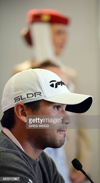 Australian golfer Jason Day speaks during a press conference at the Royal Sydney Golf Club on November 26 2013 about the Australian Open which starts...