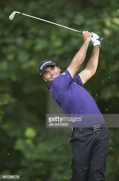 Australian golfer Jason Day tees off during the first round of the Quicken Loans National at Congressional Country Club in Bethesda Maryland June 26...