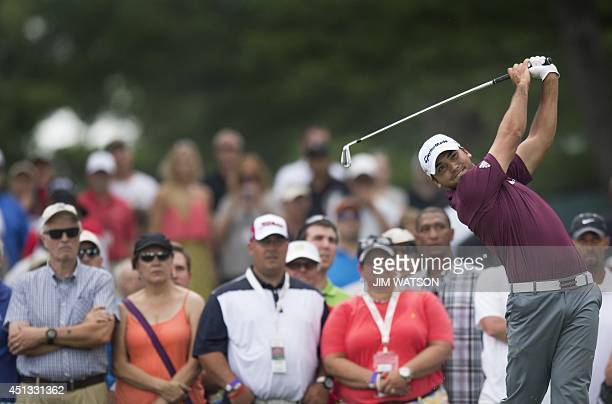 Australian golfer Jason Day tees off during the second round of the Quicken Loans National at Congressional Country Club in Bethesda Maryland on June...